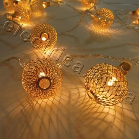Гирлянда Золотые шарики сетка внутренняя 20 led