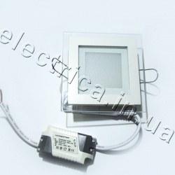 Светильник со стеклом квадратный точечный светодиодный