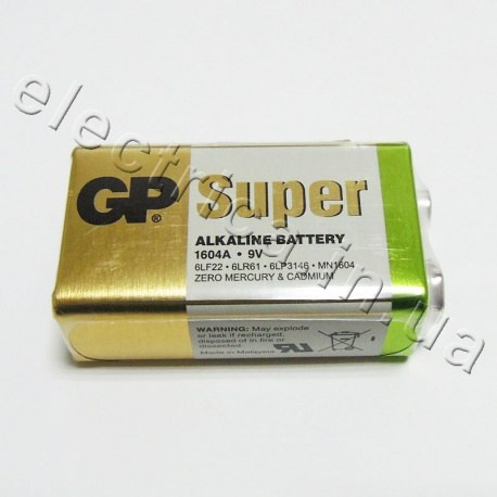 Батарейка GP 1604А-S1 Super alkaline 9V крона